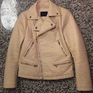 ZARA Faux Leather Moto Jacket - Cream - Small NWOT
